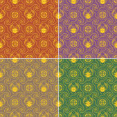 Set of seamless textures in egyptian style with scarab