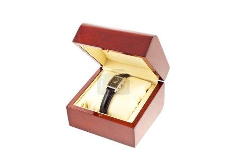 Female silver watch in a wood box
