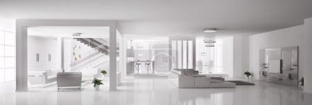 White Apartment interior 3d