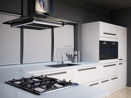Photo pour Intérieur de la cuisine moderne avec cuisinière à gaz rendu 3d - image libre de droit