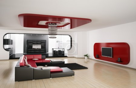 Living room, kitchen 3d render