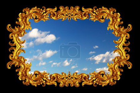Photo for Gold frame over black and blue sky - Royalty Free Image