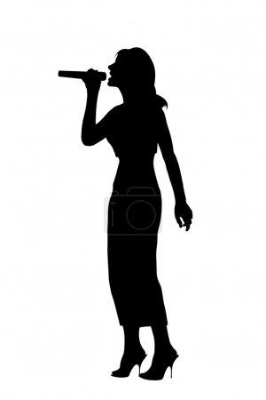 Silhouette singing woman