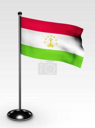 Small Tajikistan flag clipping path