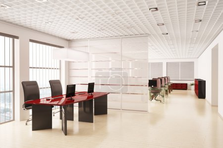 Photo for Modern office with computers interior 3d render - Royalty Free Image