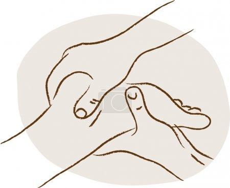 Illustration for Woman having reflex foot massage - Royalty Free Image