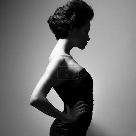 Photo for Black and white art photo. Elegant lady with stylish short hairstyle. - Royalty Free Image