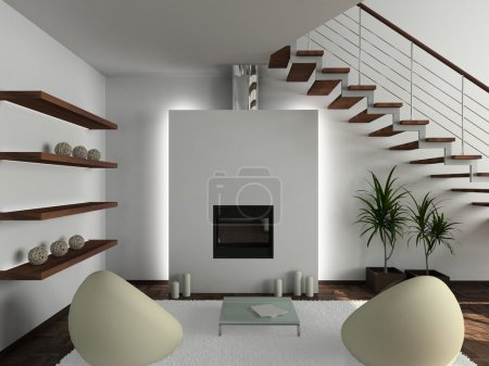 Photo for Modern design interior of living-room. 3D render - Royalty Free Image