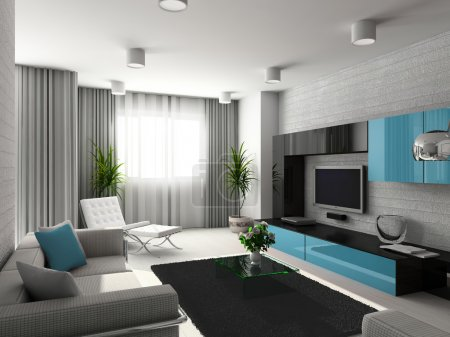 Photo for Modern interior. 3D render. Living-room. Exclusive design. - Royalty Free Image