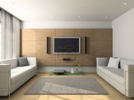 Photo pour Interior design moderne de salon. rendu 3D - image libre de droit