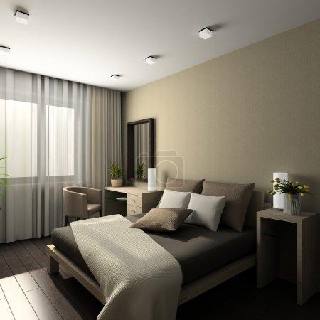 Photo for Iinterior of modern bedroom. 3D render - Royalty Free Image