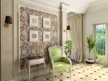 Room with the classic furniture. 3D render....