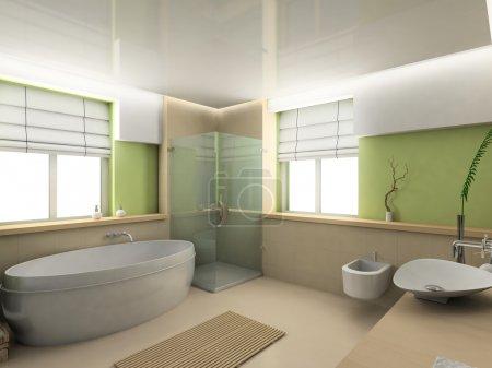 Photo pour Intérieur moderne. Un rendu 3D. Salle de bains. Design exclusif . - image libre de droit