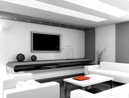 Photo pour Interior design moderne de salon. rendu 3D - image libre de droit