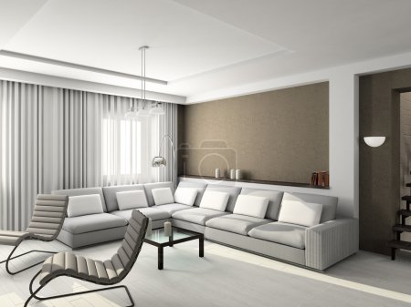 Photo for Modern design interior of living-room. 3D render - Royalty Free Image