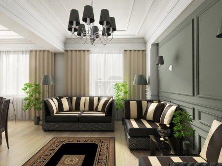 Photo pour Design classique intérieur du salon. rendu 3D - image libre de droit
