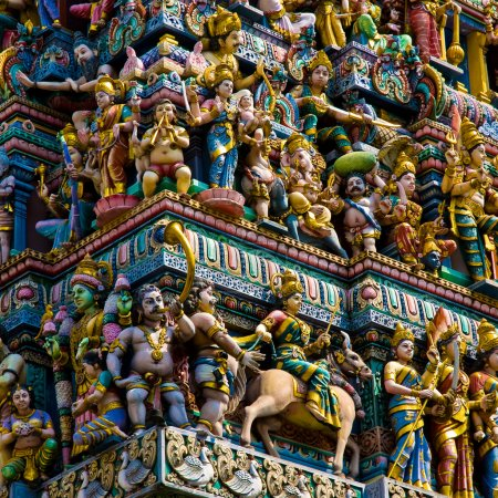 Crowded hindu temple