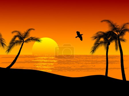 Illustration for Sunset on the beach - vector illustration - Royalty Free Image
