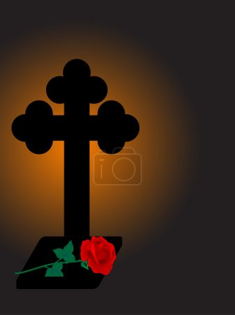 Illustration for Cross and rose - vector illustration - Royalty Free Image