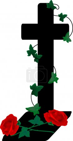 Illustration for Cross and two roses - vector illustration - Royalty Free Image