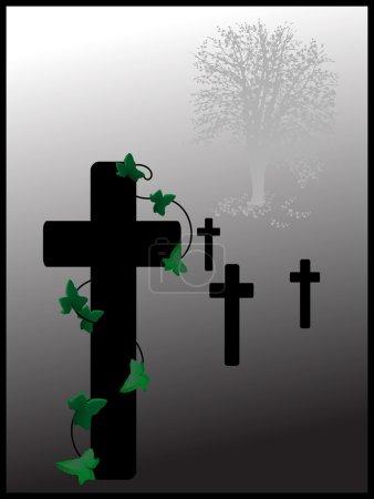 Illustration for Cemetery in fog - vector illustration - Royalty Free Image