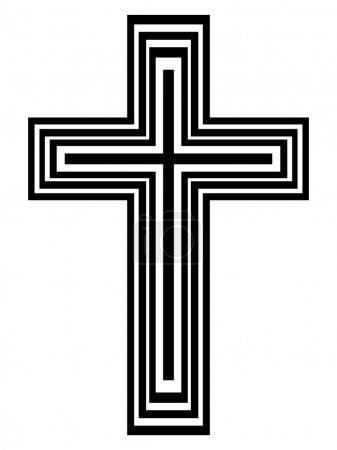 Illustration pour Croix abstraite en noir et blanc - illustration vectorielle - image libre de droit