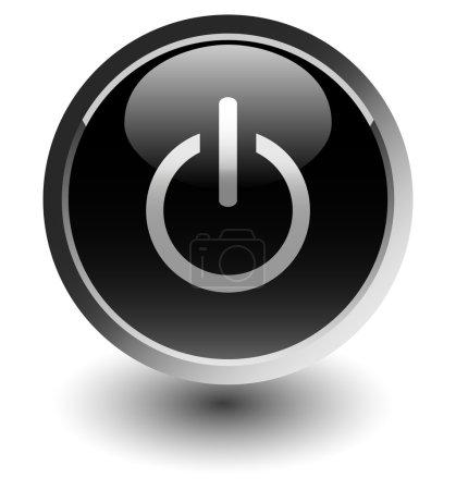 Photo pour Icônes bouton d'alimentation noir avec ombre sur blanc - image libre de droit