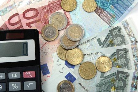 Euro money and calculator