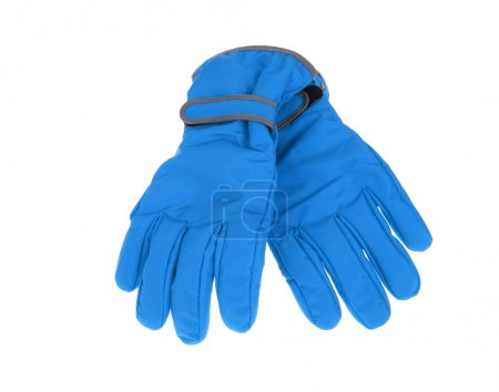 Winter blue ski gloves