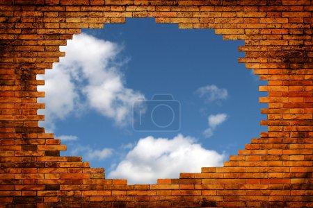 Blue sky in hole