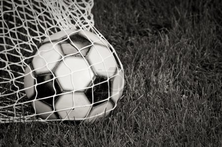 Soccer Ball in the Net - B&W