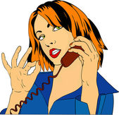 Vector - women phoning with OK symbol isolated on background