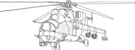 Illustration for Vector - contour gunship isolated on white background - Royalty Free Image