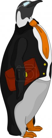 Illustration for Vector - Penguin official standing with briefcase - Royalty Free Image