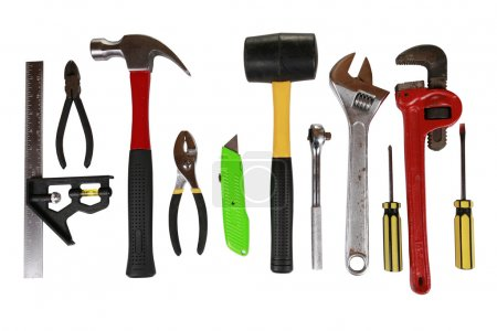 Photo for Assortment of many different tools isolated on white - Royalty Free Image