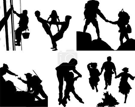 Illustration pour Le fichier contient 6 silhouettes sur une famille, le travail et le repos - image libre de droit