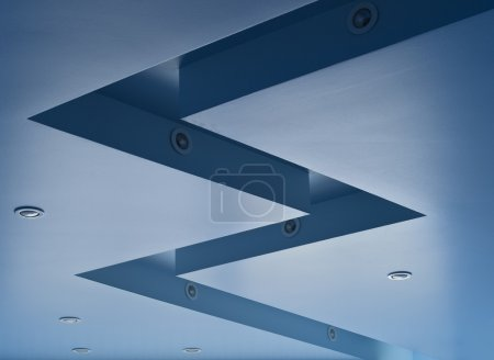 Blue coloured ceiling
