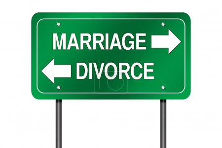 Photo for Road Sign Metaphor with Marriage versus Divorce - Royalty Free Image