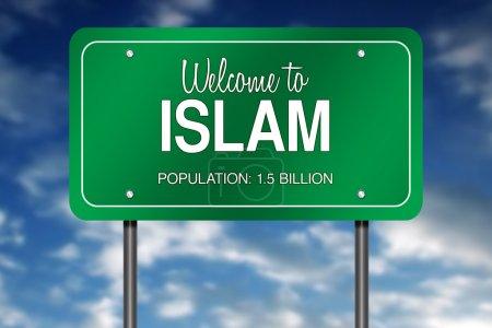 Photo pour Métaphore de signe de route avec Accueil à l'islam - image libre de droit