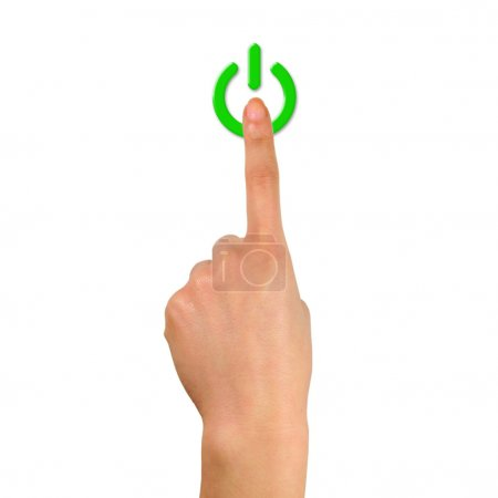 Photo pour Photo de bouton d'alimentation pointant à la main isolé avec fond blanc . - image libre de droit