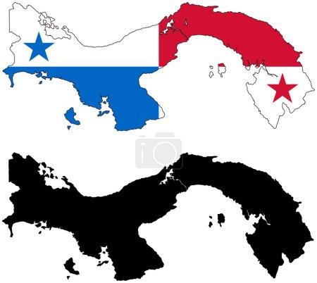 Panama map and flag