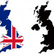 Vector flag and silhouette of United Kingdom....