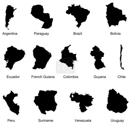 Illustration for Layered vector illustration of 13 South America Country Maps. - Royalty Free Image
