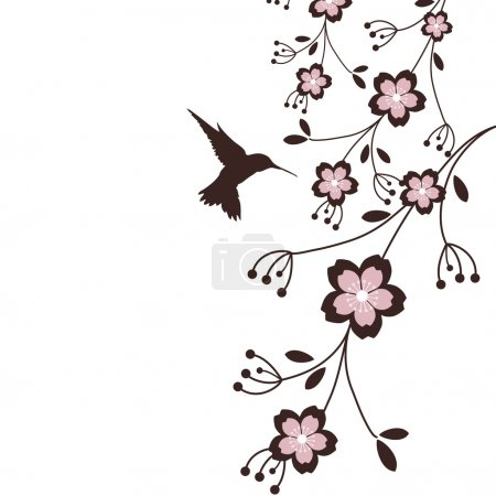Illustration for A hummingbird hovering with some cherry blossoms - Royalty Free Image