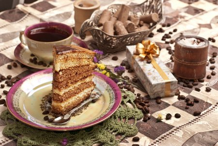 Photo for Cake with tea and gift box - Royalty Free Image