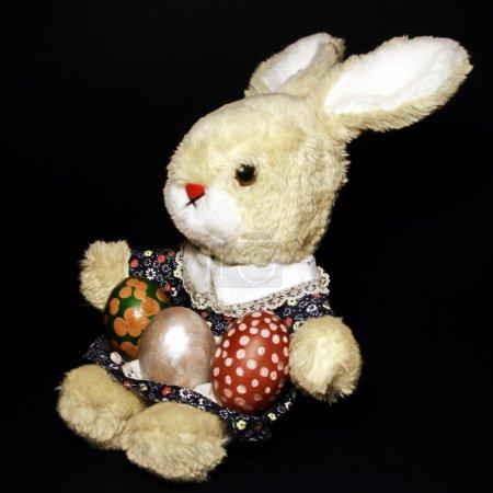Photo pour Jouet de lapin avec trois oeufs de Pâques sur fond noir - image libre de droit