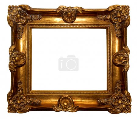 Photo for Baroque golden picture frame isolated over white background - Royalty Free Image