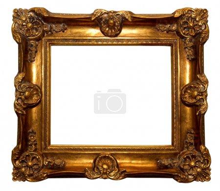 Photo pour Cadre baroque doré isolé sur fond blanc - image libre de droit