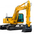 Excavator painted in yellow isolated on white back...