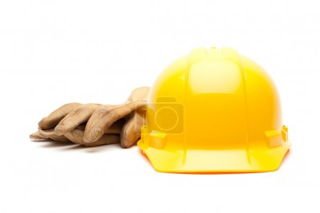 Yellow Hard Hat and Gloves